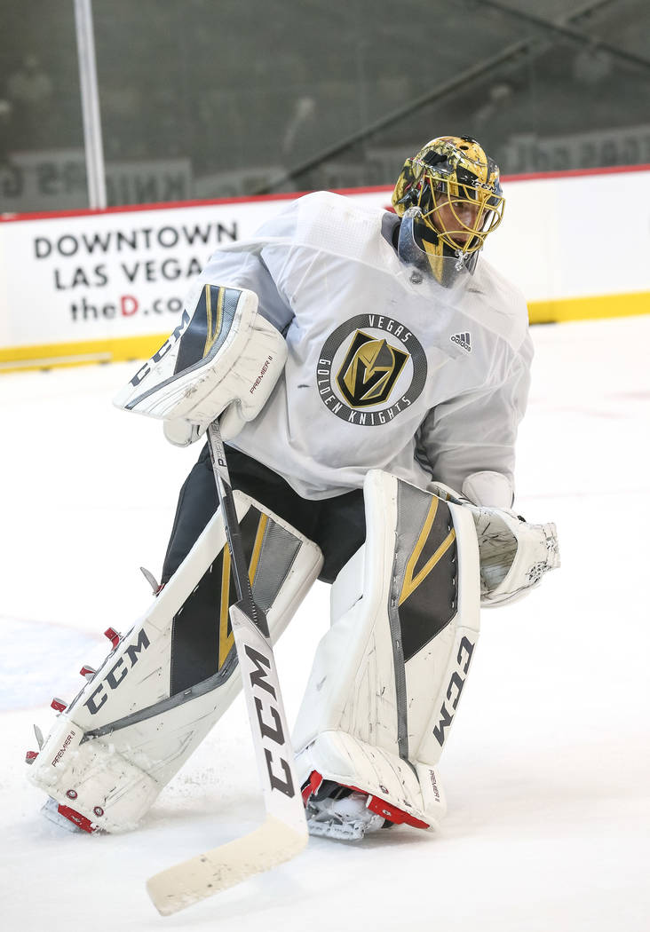Vegas Golden Knights goalie Marc-Andre Fleury on the ice during team practice at the City National Arena on Friday, Sept. 15, 2017, in Las Vegas. Richard Brian Las Vegas Review-Journal @vegasphoto ...