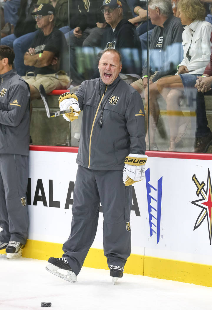 Vegas Golden Knights head coach Gerard Gallant works on drills during team practice at the City National Arena on Friday, Sept. 15, 2017, in Las Vegas. Richard Brian Las Vegas Review-Journal @vega ...