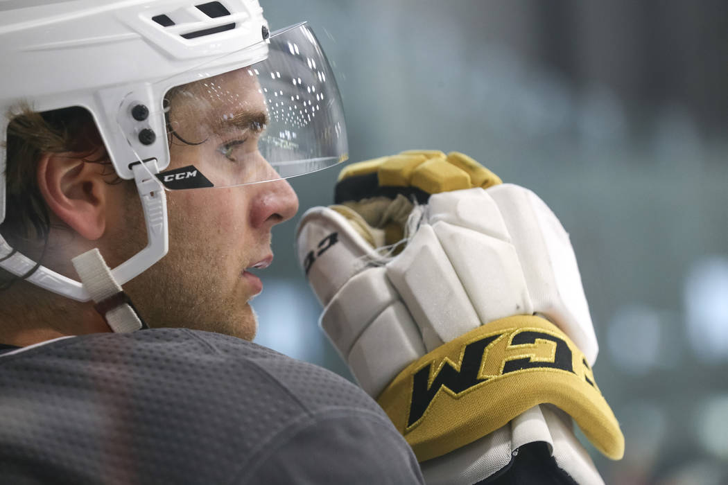 Vegas Golden Knights' Jake Bischoff on the ice during team practice at the City National Arena on Friday, Sept. 15, 2017, in Las Vegas. Richard Brian Las Vegas Review-Journal @vegasphotograph
