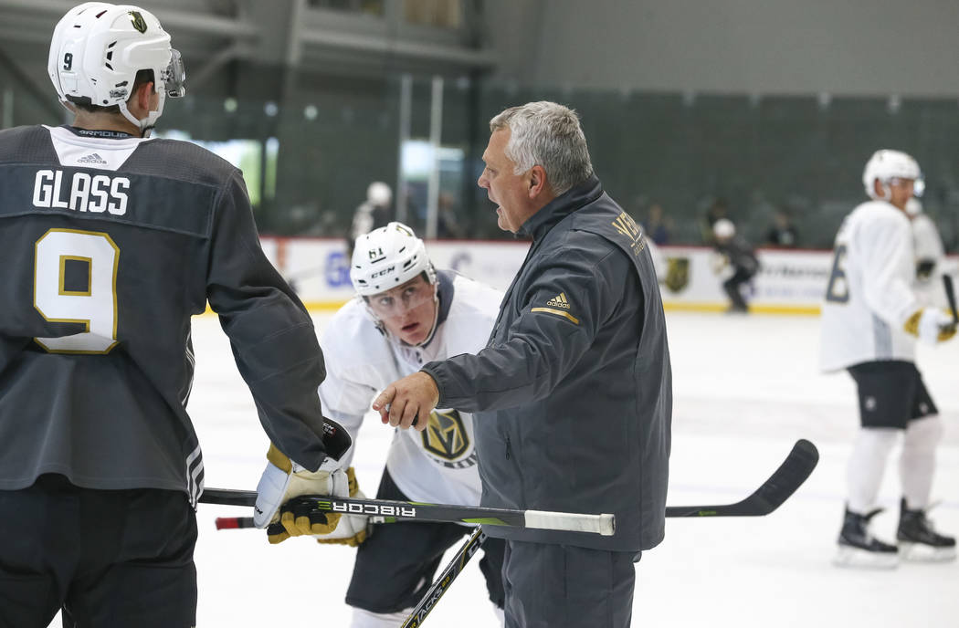 Golden Knights head coach Gerard Gallant talks to his players during team practice at the City National Arena on Friday, Sept. 15, 2017, in Las Vegas. Richard Brian Las Vegas Review-Journal @vegas ...