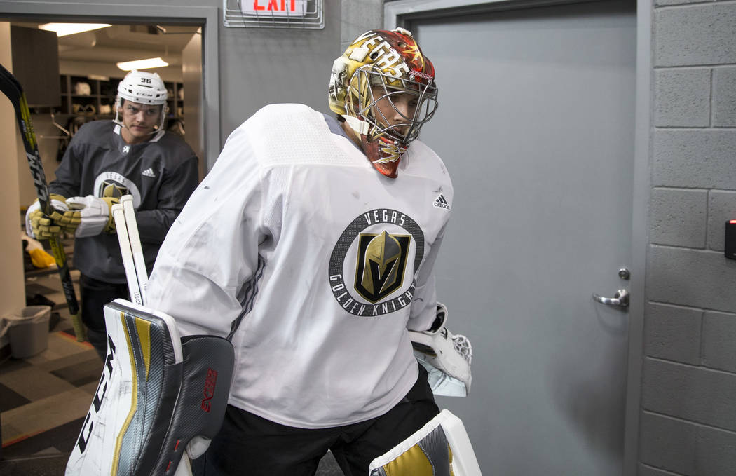 Vegas Golden Knights goaltender Maxime Lagace (33) prepares to hit the ice during the NHL team's practice at the City National Arena in Las Vegas, Saturday, Sept. 16, 2017. Richard Brian Las Vegas ...