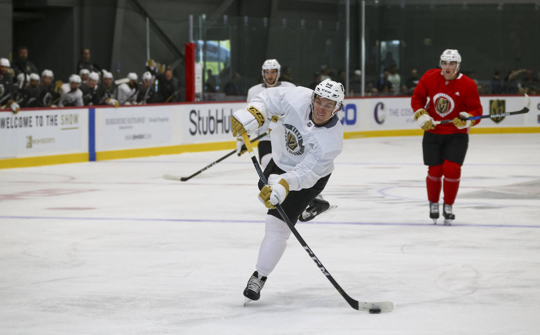 Vegas Golden Knights left wing Erik Haula (56) takes part in a drill during the NHL team's practice at the City National Arena in Las Vegas, Saturday, Sept. 16, 2017. Richard Brian Las Vegas Revie ...