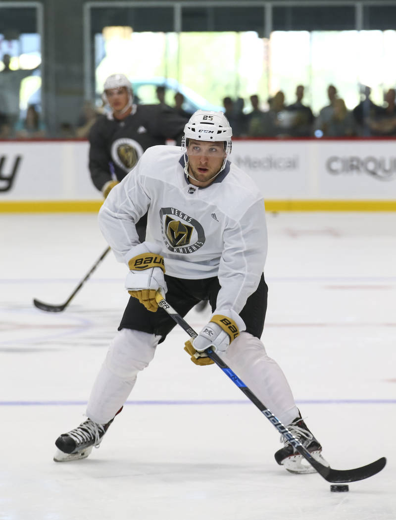 Vegas Golden Knights centerman Stefan Matteau (25) takes part in a drill during the NHL team's practice at the City National Arena in Las Vegas, Saturday, Sept. 16, 2017. Richard Brian Las Vegas R ...