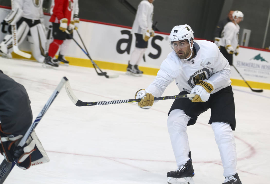 Vegas Golden Knights right wing Alex Tuch (89) takes part in a drill during the NHL team's practice at the City National Arena in Las Vegas, Saturday, Sept. 16, 2017. Richard Brian Las Vegas Revie ...