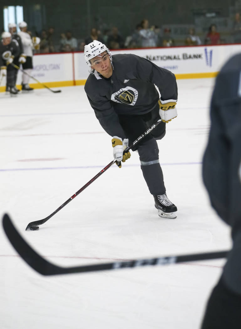 Vegas Golden Knights forward Nick Suzuki (17) takes part in a drill during the NHL team's practice at the City National Arena in Las Vegas, Saturday, Sept. 16, 2017. Richard Brian Las Vegas Review ...