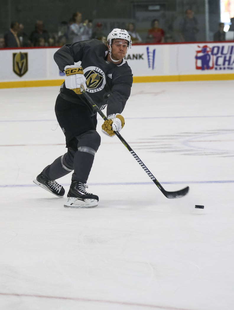 Vegas Golden Knights left defenseman Jon Merrill (15) takes part in a drill during the NHL team's practice at the City National Arena in Las Vegas, Saturday, Sept. 16, 2017. Richard Brian Las Vega ...