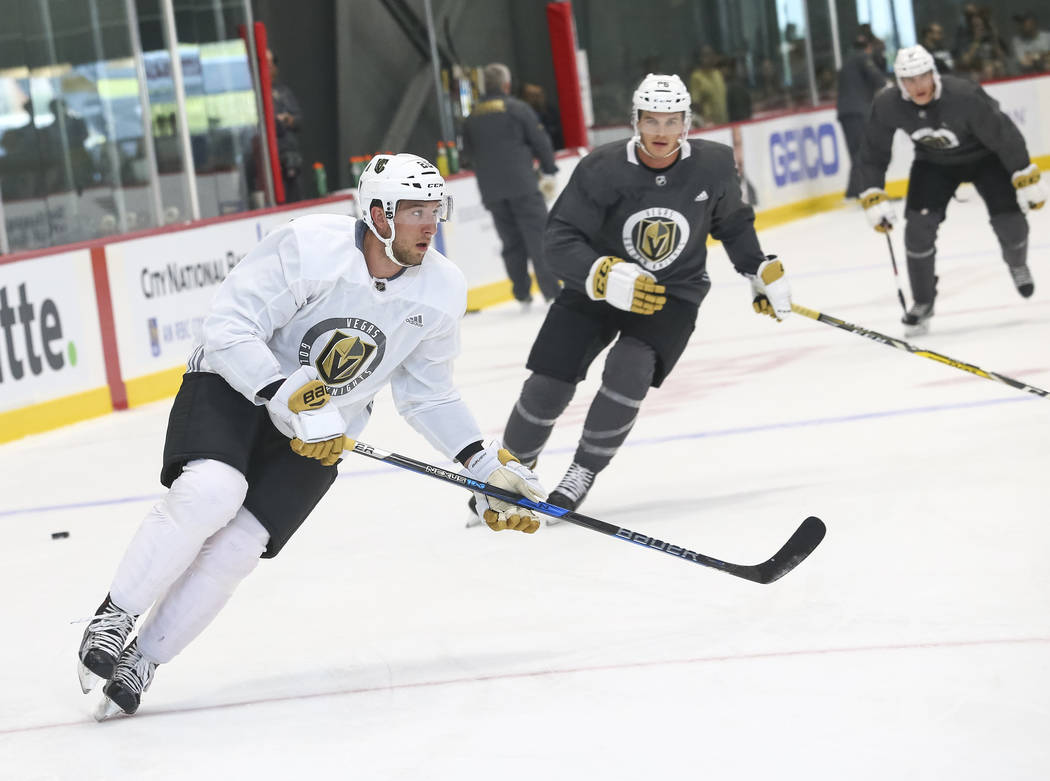 Vegas Golden Knights centerman Stefan Matteau, left,  takes part in a drill during the NHL team's practice at the City National Arena in Las Vegas, Saturday, Sept. 16, 2017. Richard Brian Las Vega ...