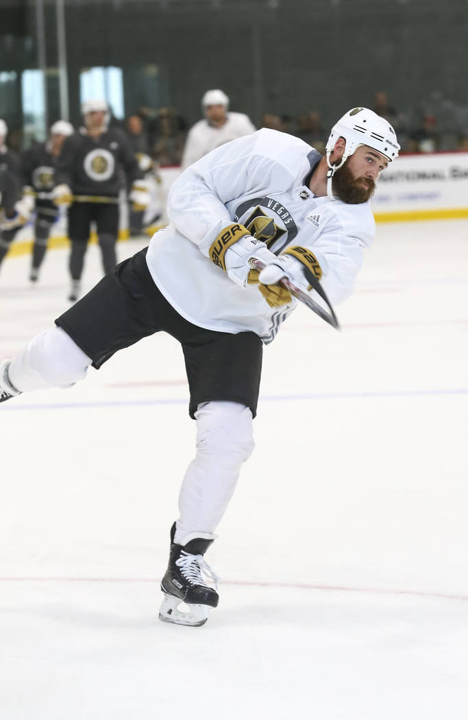 Vegas Golden Knights left defenseman Clayton Stoner (4) takes part in a drill during the NHL team's practice at the City National Arena in Las Vegas, Saturday, Sept. 16, 2017. Richard Brian Las Ve ...