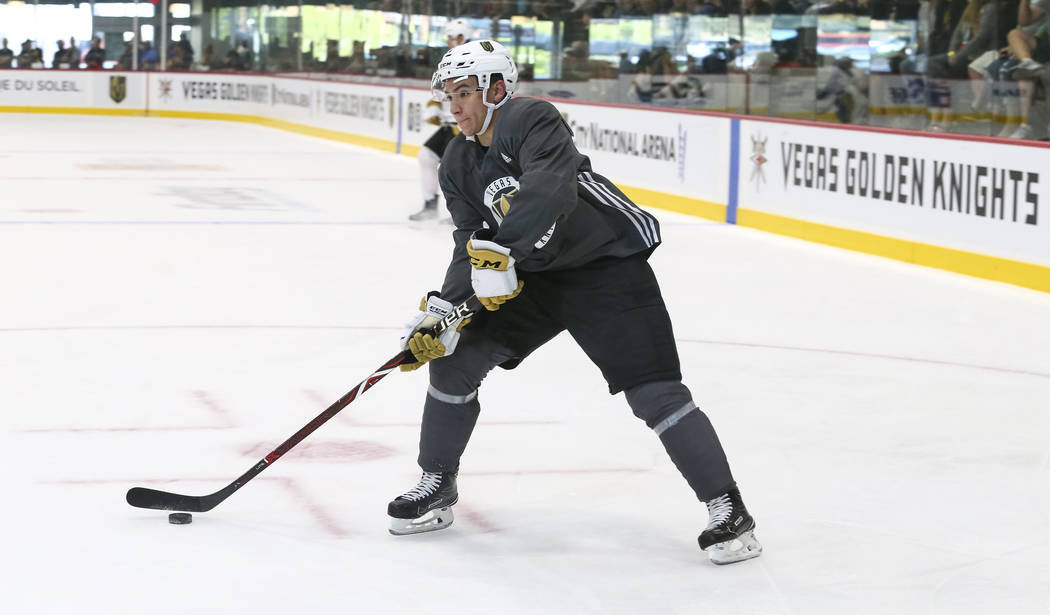 Vegas Golden Knights forward Nick Suzuki (17) takes a part in a drill during the NHL team's practice at the City National Arena in Las Vegas, Saturday, Sept. 16, 2017. Richard Brian Las Vegas Revi ...