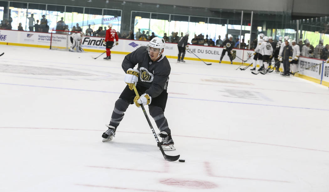 Vegas Golden Knights forward Bryce Gervais (62) takes part in a drill during the NHL team's practice at the City National Arena in Las Vegas, Saturday, Sept. 16, 2017. Richard Brian Las Vegas Revi ...