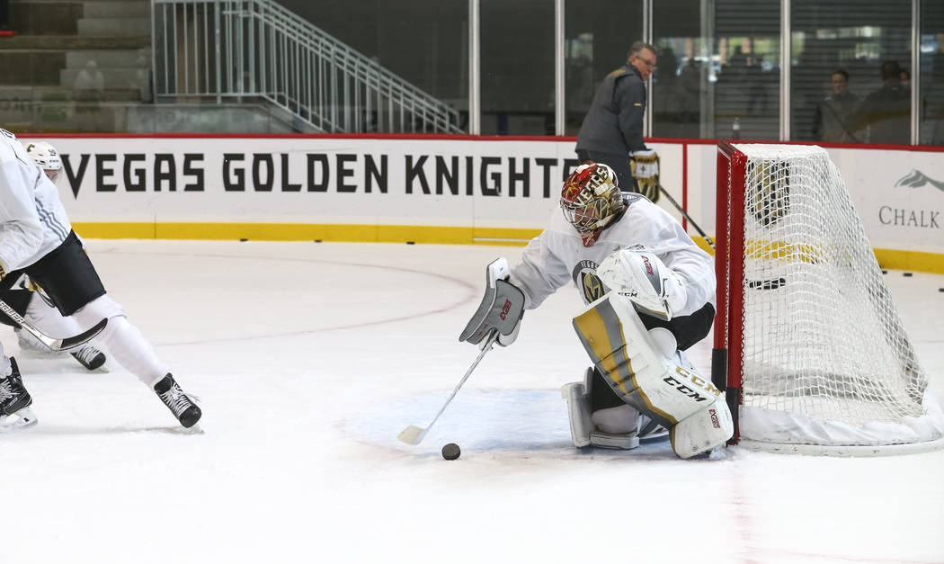 Vegas Golden Knights goaltender Maxime Lagace (33) protects his net during the NHL team's practice at the City National Arena in Las Vegas, Saturday, Sept. 16, 2017. Richard Brian Las Vegas Review ...