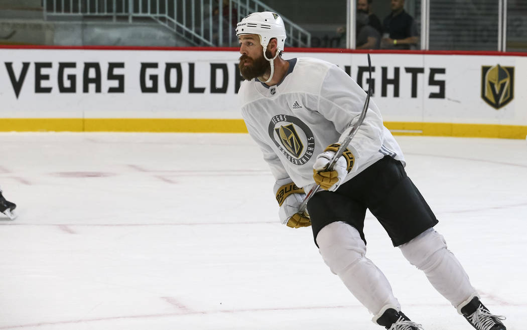 Vegas Golden Knights left defenseman Clayton Stoner (4) takes part in a scrimmage game during the NHL team's practice at the City National Arena in Las Vegas, Saturday, Sept. 16, 2017. Richard Bri ...