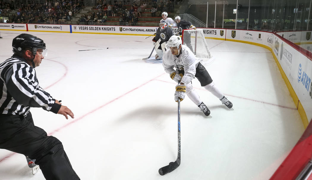 Vegas Golden Knights left defenseman Luca Sbisa (47) controls the puck in a scrimmage game during the NHL team's practice at the City National Arena in Las Vegas, Saturday, Sept. 16, 2017. Richard ...