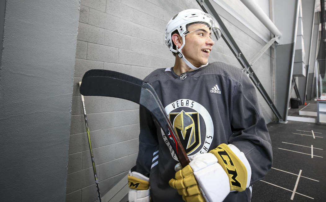 Vegas Golden Knights forward Nick Suzuki (17) walks to the locker room before a scrimmage game during the NHL team's practice at the City National Arena in Las Vegas, Saturday, Sept. 16, 2017. Ric ...