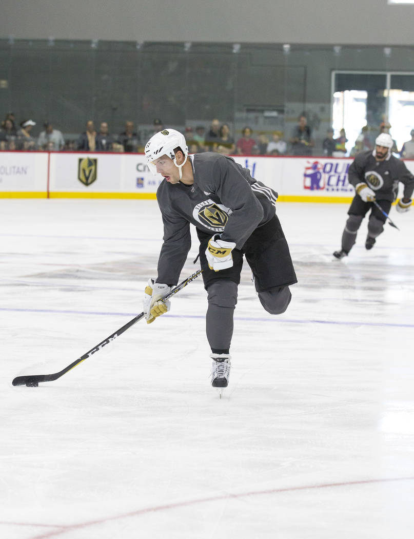 Vegas Golden Knights left wing David Perron (57) takes part in a scrimmage during the NHL team's practice at the City National Arena in Las Vegas, Saturday, Sept. 16, 2017. Richard Brian Las Vegas ...