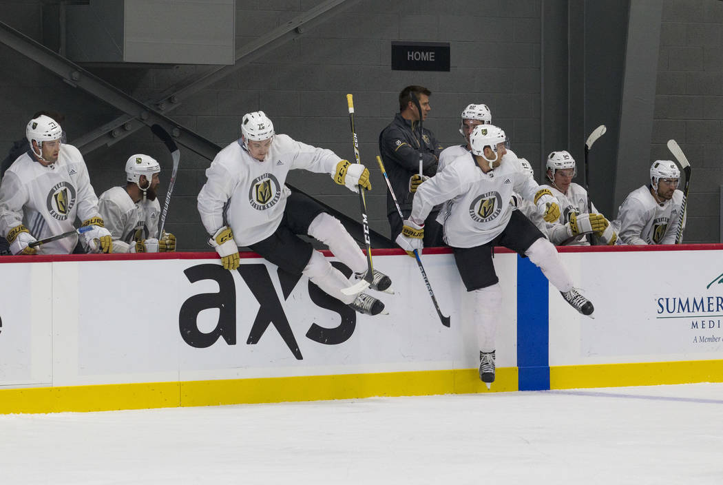 Vegas Golden Knights players jump out for a shift change in a scrimmage game during the NHL team's practice at the City National Arena in Las Vegas, Saturday, Sept. 16, 2017. Richard Brian Las Veg ...