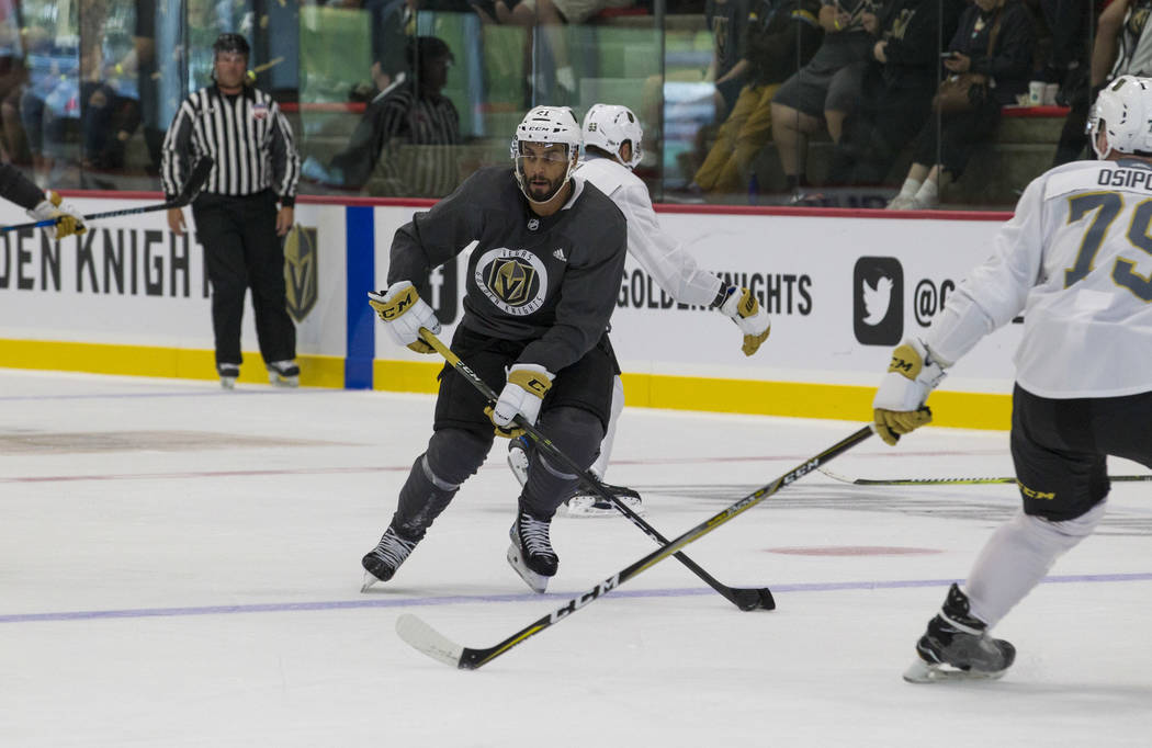 Vegas Golden Knights left wing Pierre-Edouard Bellemare (41) looks for a pass in a scrimmage game during the NHL team's practice at the City National Arena in Las Vegas, Saturday, Sept. 16, 2017.  ...