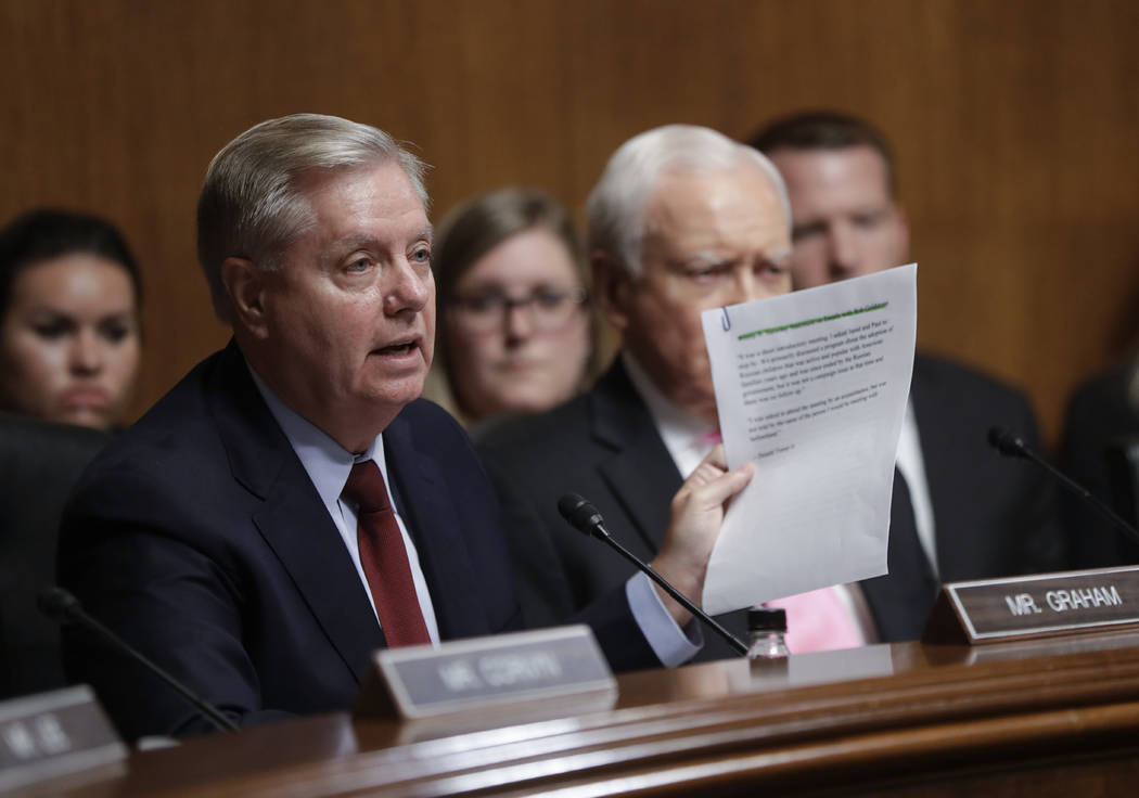Senate Judiciary Committee member Sen. Lindsey Graham, R-S.C., Wednesday, July 12, 2017, on Capitol Hill in Washington, D.C. (J. Scott Applewhite/AP)