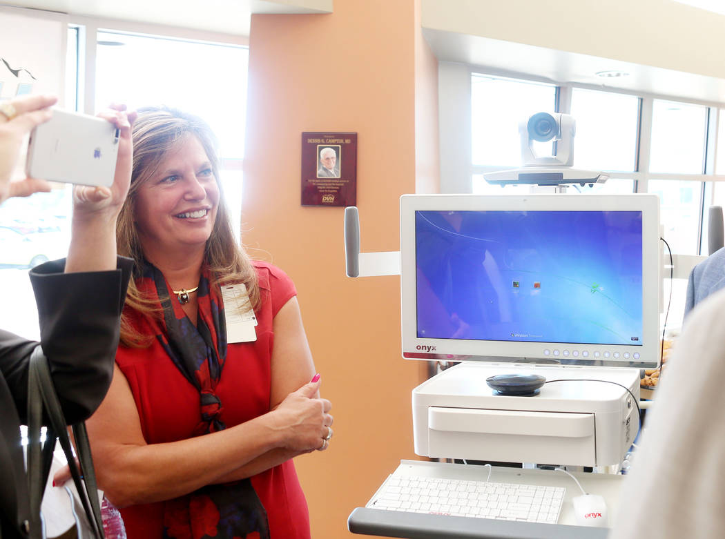 Desert View Hospital CEO Susan Davila discusses the new Telehealth technology after a demonstration during the Nevada Hospital Association's and the technology company Switch's announcement of the ...