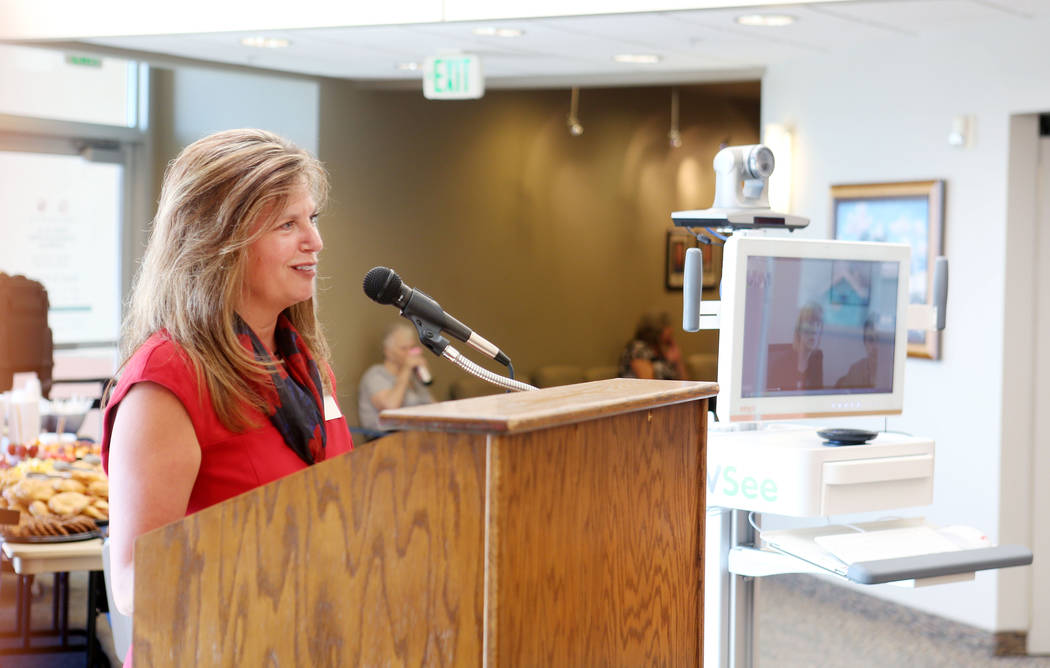 Desert View Hospital CEO Susan Davila discusses rural patient and hospital impact of the Nevada Broadband Telemedicine Initiative at Desert View Hospital in Pahrump, Monday, Sept. 18, 2017. Elizab ...