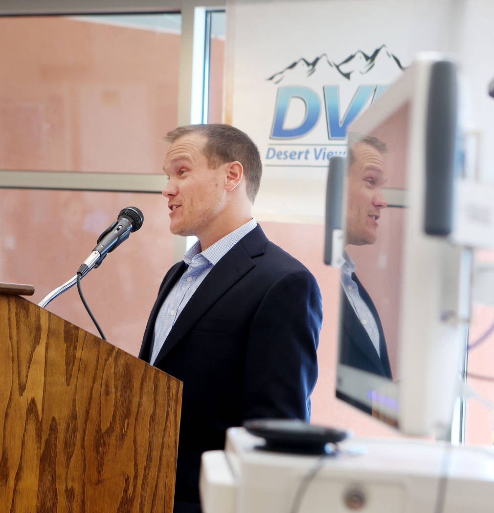 Project technical reviewer at Inspired Technologies Nick Routa gives a project overview during the Nevada Hospital Association and the technology company Switch announcement a Nevada Broadband Tel ...