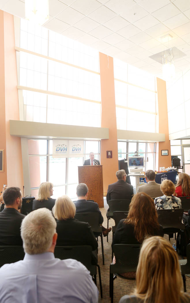 CEO of Summerlin Hospital Medical Center Robert Freymuller speaks during the the Nevada Hospital Association's and the technology company Switch's announcement of the Nevada Broadband Telemedicine ...