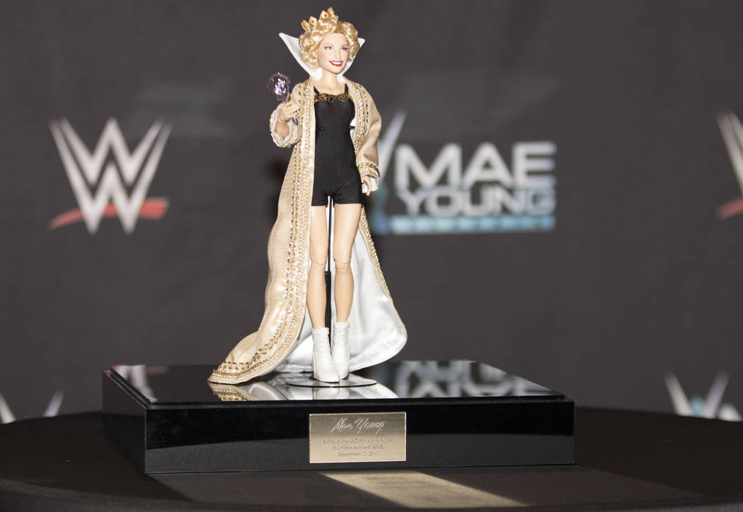 A WWE doll made for the Mae Young Classic event by Mattel is unveiled on the red carpet at the Thomas & Mack Center on Tuesday, Sept. 12, 2017. Heidi Fang Las Vegas Review-Journal @HeidiFang