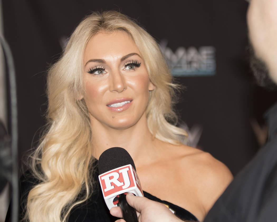 WWE superstar Charlotte Flair is interviewed on the red carpet at the Mae Young Classic event at the Thomas & Mack Center in Las Vegas, Tuesday, Sept. 12, 2017. Heidi Fang Las Vegas Review-Jou ...