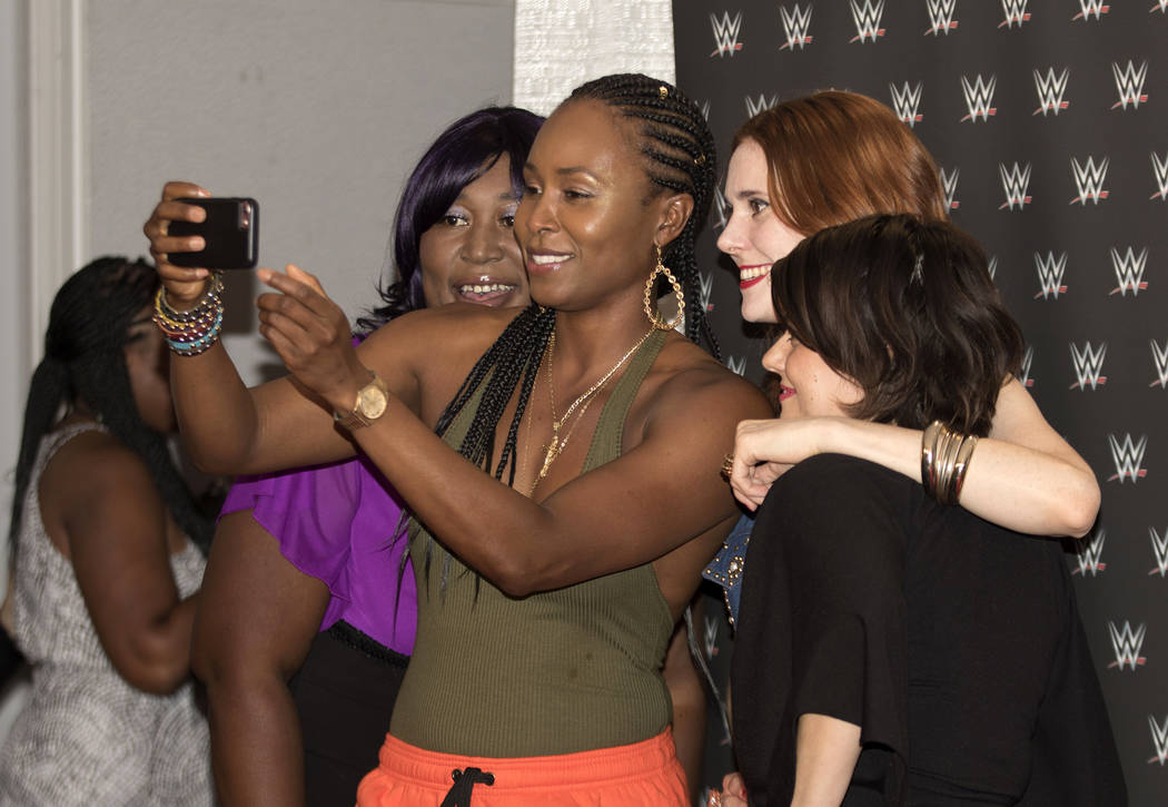 The cast of the Netflix series GLOW from left, Kia Stevens, Sydelle Noel, Kate Nash and Rebekka Johnson on the red carpet at the WWE Mae Young Classic event at the Thomas & Mack Center in Las  ...