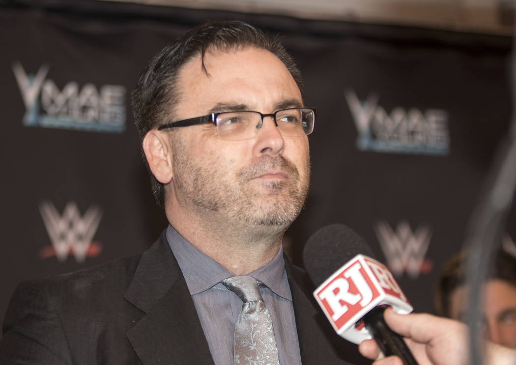 WWE NXT Announcer Mauro Ranallo is interviewed on the red carpet for the Mae Young Classic event at the Thomas & Mack Center in Las Vegas, Tuesday, Sept. 12, 2017. Heidi Fang Las Vegas Review- ...