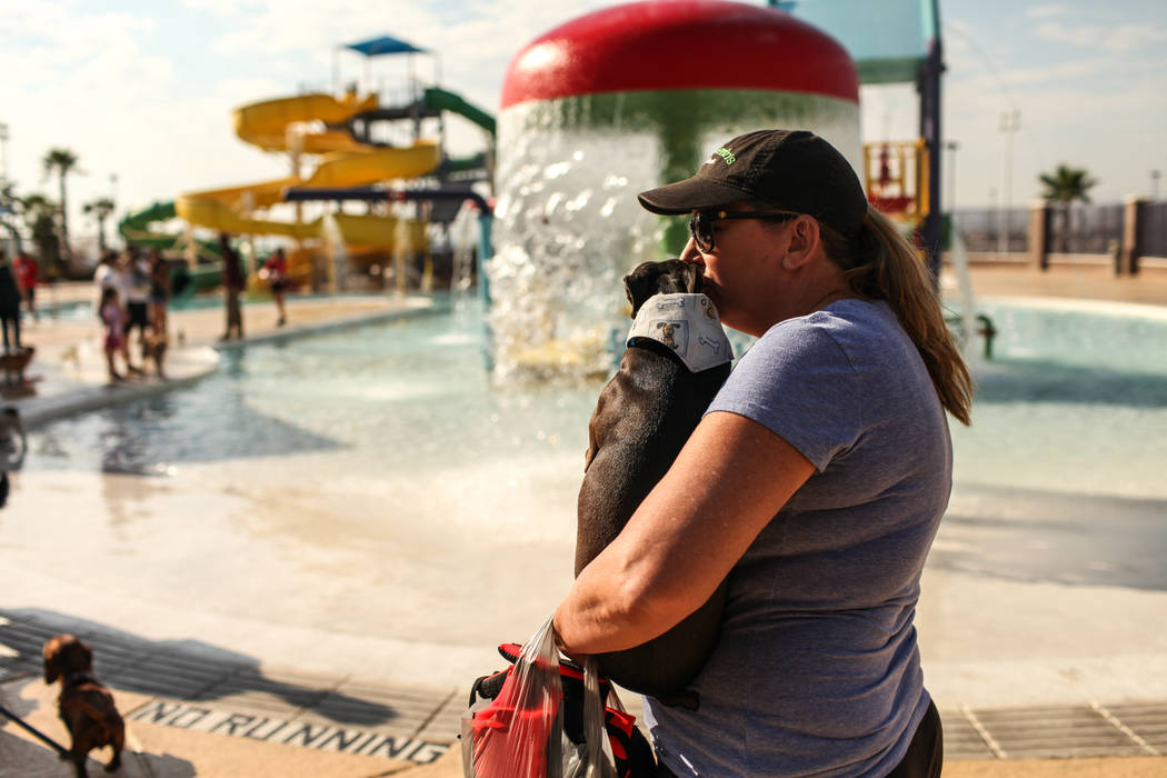 Sherrill Willmes kisses her dog Clayton during the Dog Daze of Summer event at the Desert Breeze Aquatics Facility in Las Vegas, Saturday, Sept. 16, 2017. Joel Angel Juarez Las Vegas Review-Journa ...