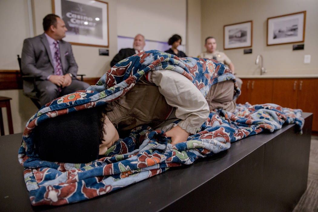 The dummy used to catch Shane Schindler is on temporary display during a panel at the Mob Museum on Tuesday, Sep. 19, 2017, in Las Vegas. Morgan Lieberman Las Vegas Review-Journal