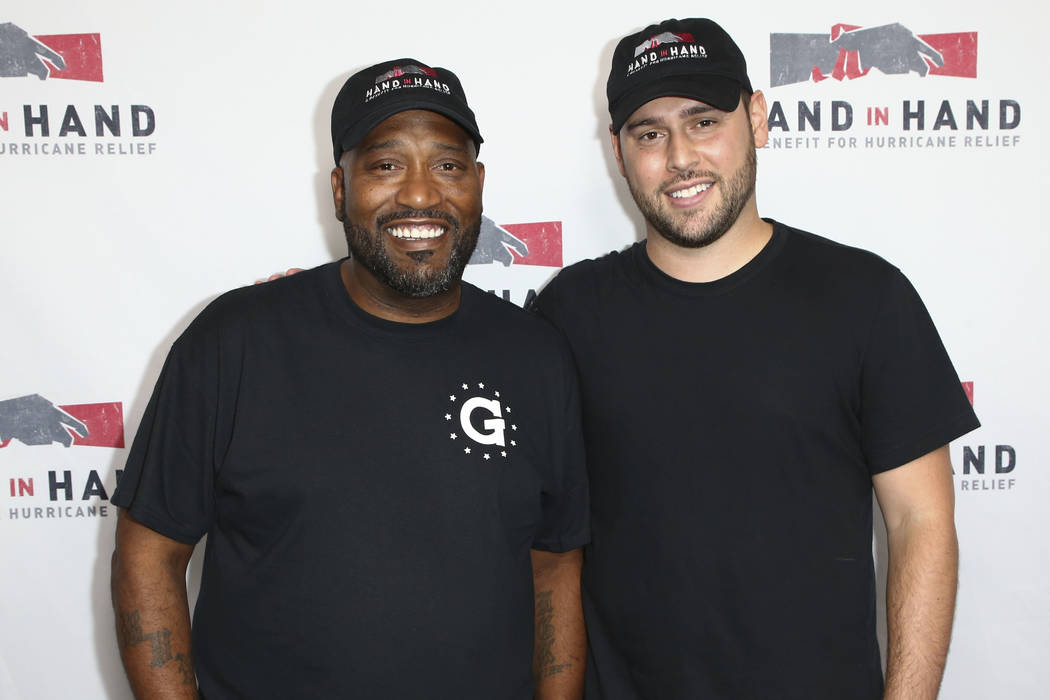 Bun B, left, and Scooter Braun attend the Hand in Hand: A Benefit for Hurricane Harvey Relief held at Universal Studios Back Lot on Tuesday, Sept. 12, 2017 in Universal City, Calif. (Photo by John ...