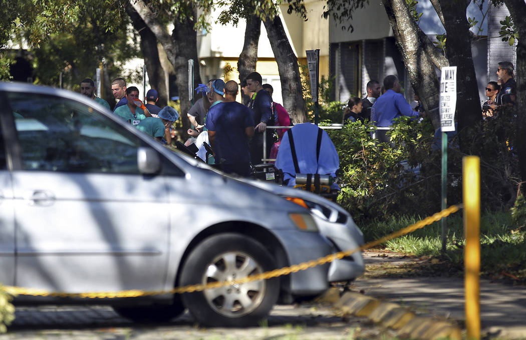 Patients are evacuated from The Rehabilitation Center at Hollywood Hills  after a loss of air conditioning due to Hurricane Irma on Wednesday, Sept. 13, 2017 in Hollywood, Fla.  Several patients a ...