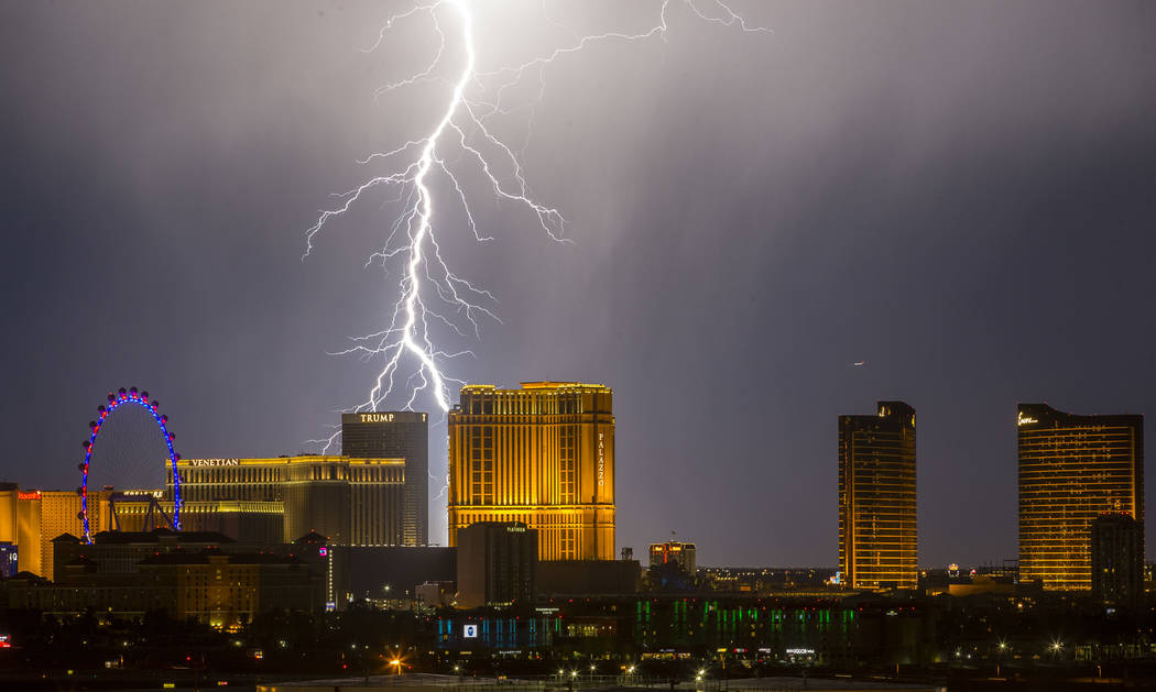 Lightning strikes over the Las Vegas Valley as seen from McCarran International Airport on Wednesday, Sept. 13, 2017. Richard Brian Las Vegas Review-Journal @vegasphotograph