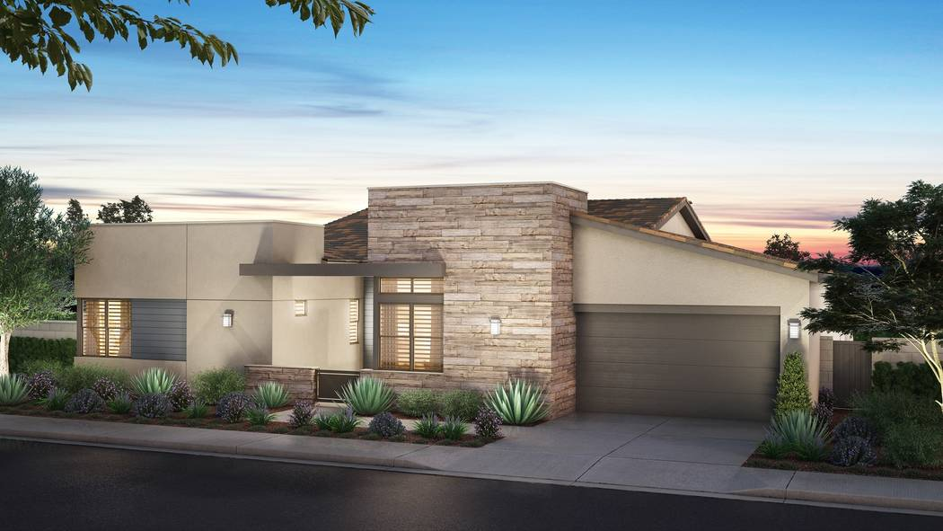 Pardee Homes' Nova Ridge neighborhood will open Sept. 23 and marks a return to Summerlin for the builder. Shown is a rendering of Nova Ridge Plan 2-C in the Modern Nevada elevation. (Pardee)
