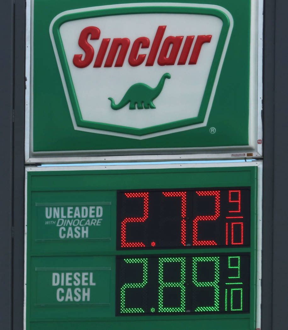 Gas prices posted at Sinclair gas station on Bonanza Road on Wednesday Sept. 13, 2017, in Las Vegas.  Bizuayehu Tesfaye Las Vegas Review-Journal @bizutesfaye