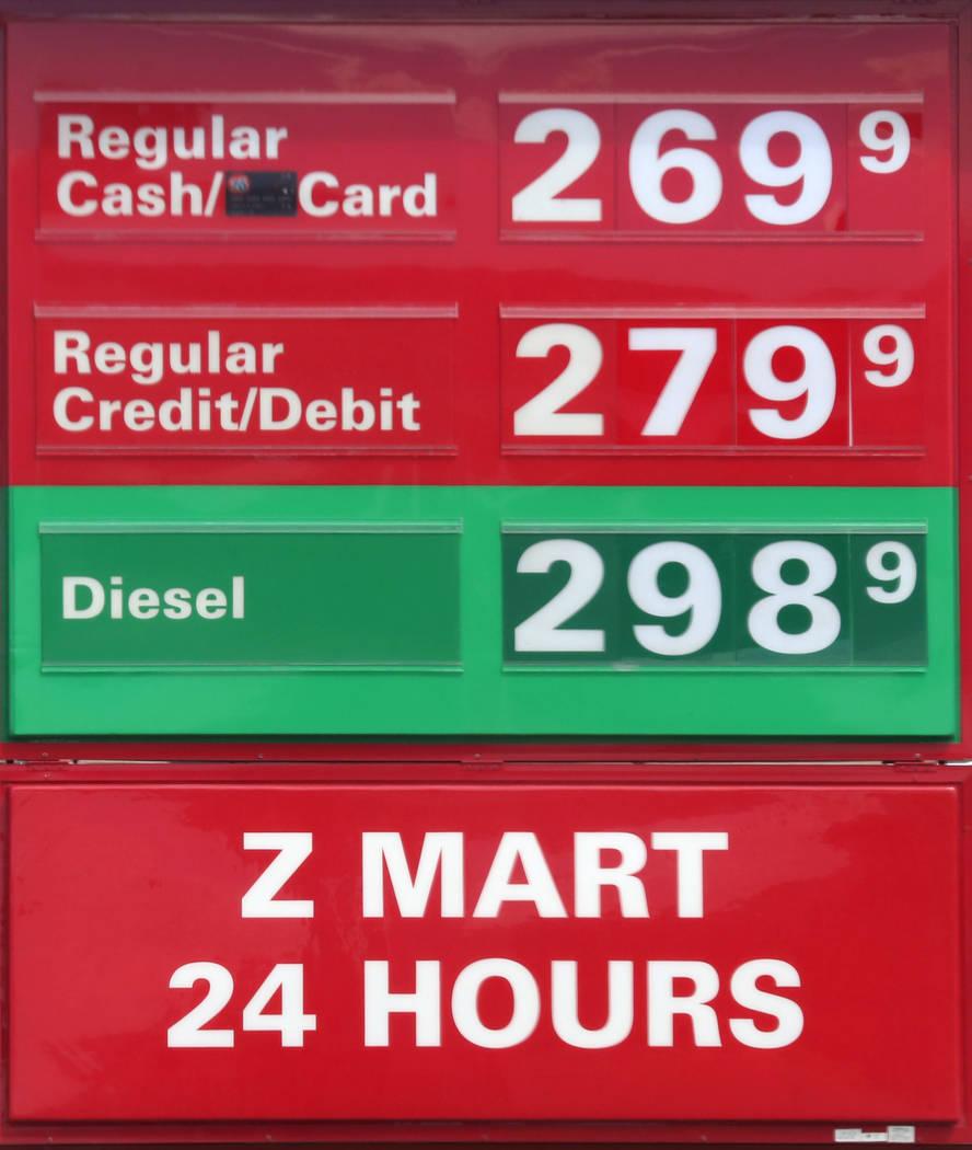Gas prices posted at Z Mart gas station on Owens Avenue on Wednesday Sept. 13, 2017, in Las Vegas. Bizuayehu Tesfaye Las Vegas Review-Journal @bizutesfaye
