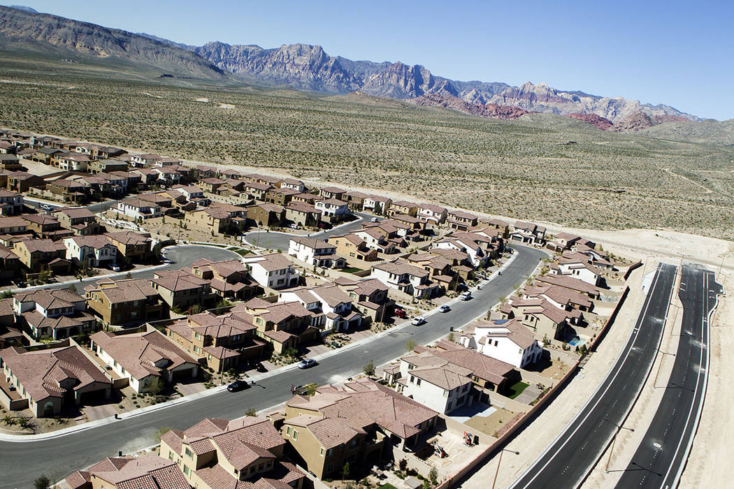 The Paseos in Summerlin with Spring Mountain in the background is seen in 2015. (Las Vegas Review-Journal)