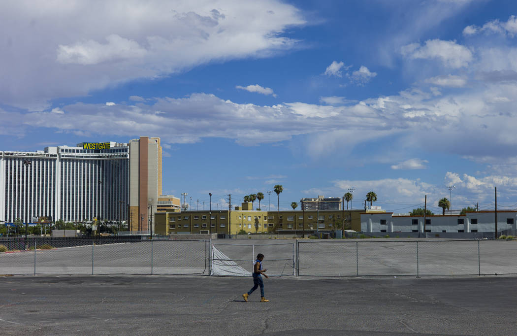 A man walks by a vacant lot just north of the Peppermill along the north Strip area in Las Vegas on Wednesday, Sept. 13, 2017. Chase Stevens Las Vegas Review-Journal @csstevensphoto