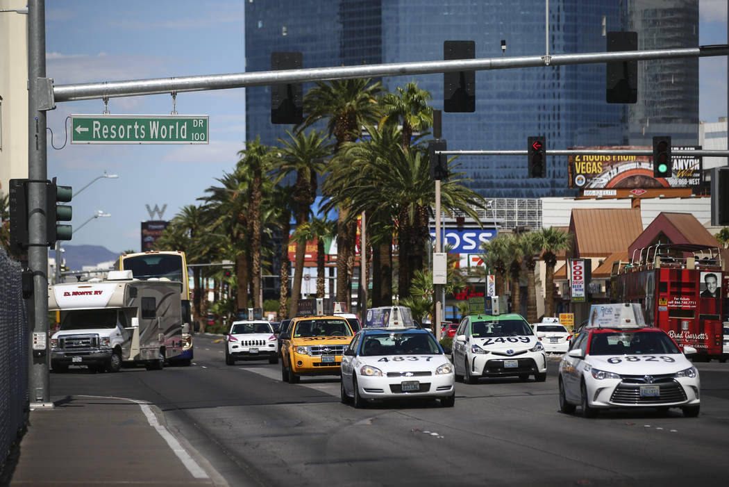 Traffic along the north Strip area in Las Vegas on Wednesday, Sept. 13, 2017. Chase Stevens Las Vegas Review-Journal @csstevensphoto