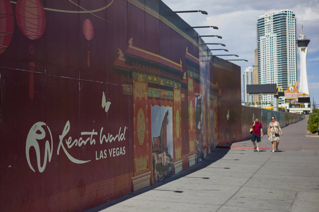 Pedestrians walk along the north Strip area as construction continues at Resorts World Las Vegas in Las Vegas on Wednesday, Sept. 13, 2017. Chase Stevens Las Vegas Review-Journal @csstevensphoto