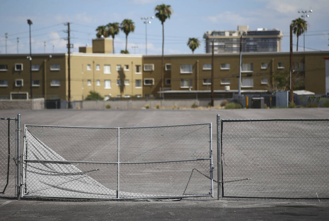A vacant lot just north of the Peppermill along the north Strip area in Las Vegas on Wednesday, Sept. 13, 2017. Chase Stevens Las Vegas Review-Journal @csstevensphoto