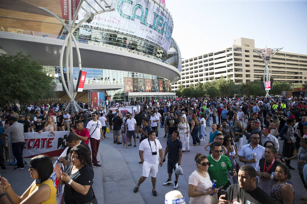Fans outside of T-Mobile Arena in Las Vegas where Saul Canelo Alvarez and Gennady GGG Golovkin at scheduled to fight in a championship bout, Saturday, Sept. 16, 2017. (Erik Verduzco/Las Vegas Revi ...
