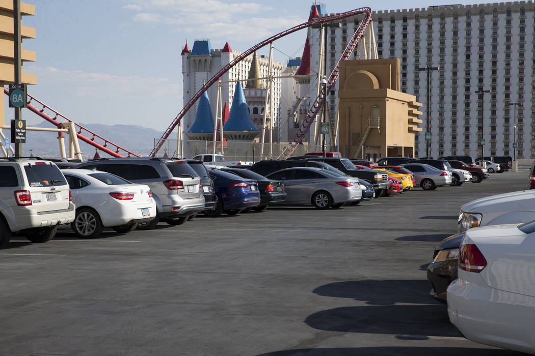 The New York-New York parking garage outside of T-Mobile Arena in Las Vegas where Saul Canelo Alvarez and Gennady GGG Golovkin at scheduled to fight in a championship bout, Saturday, Sept. 16, 201 ...