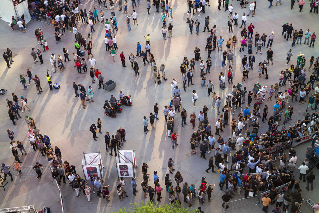 Fight fans outside of T-Mobile Arena before Saul Canelo Alvarez takes on Gennady GGG Golovkin in Las Vegas on Saturday, Sept. 16, 2017. (Chase Stevens/Las Vegas Review-Journal) @csstevensphoto