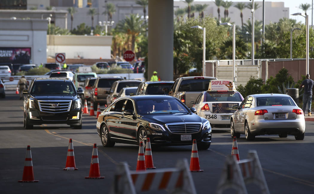 Traffic around T-Mobile Arena before Saul Canelo Alvarez takes on Gennady GGG Golovkin in Las Vegas on Saturday, Sept. 16, 2017. (Chase Stevens/Las Vegas Review-Journal) @csstevensphoto