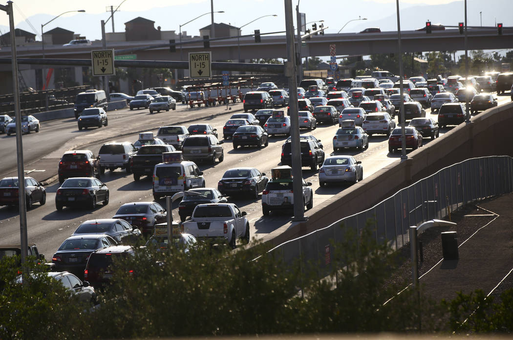 Traffic along Tropicana Avenue outside of T-Mobile Arena before Saul Canelo Alvarez takes on Gennady GGG Golovkin in Las Vegas on Saturday, Sept. 16, 2017. (Chase Stevens/Las Vegas Review-Journal) ...
