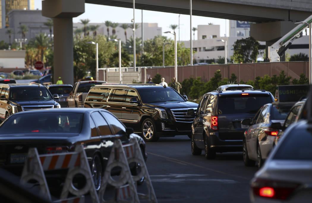 Traffic around T-Mobile Arena before Saul Canelo Alvarez takes on Gennady GGG Golovkin in Las Vegas on Saturday, Sept. 16, 2017. (Chase Stevens/Las Vegas Review-Journal) @csstevensphoto