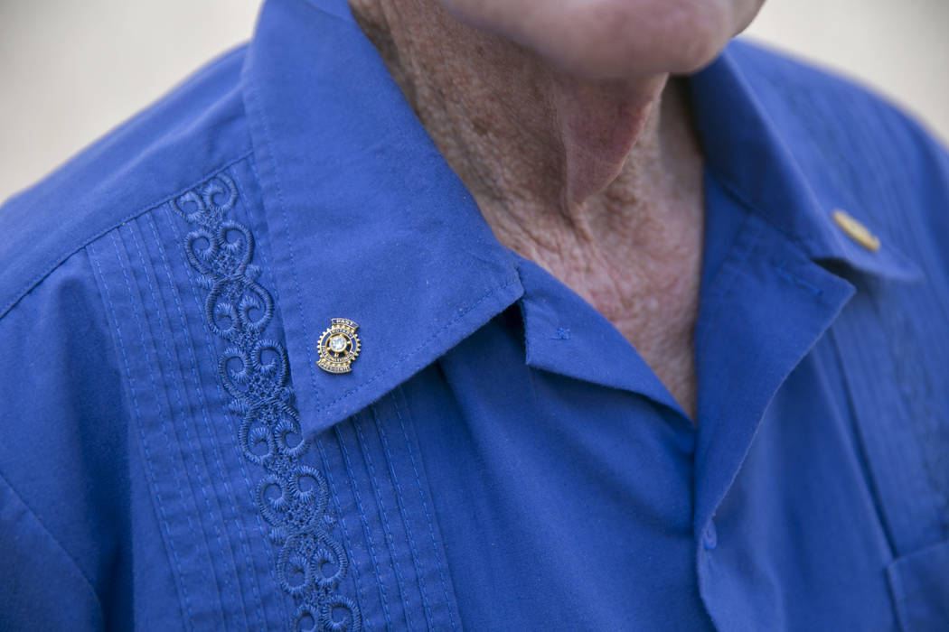 Dennis Ortwein's Rotary Club pins sit neatly on his shirt at his home in Summerlin, Las Vegas, on Wednesday, Sept. 13, 2017. Ortwein  has been a Rotary Club member for 51 years. Gabriella Angotti- ...